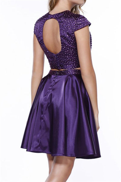 Pearl Beaded Cap Sleeve Two Piece Satin Short Homecoming Dress