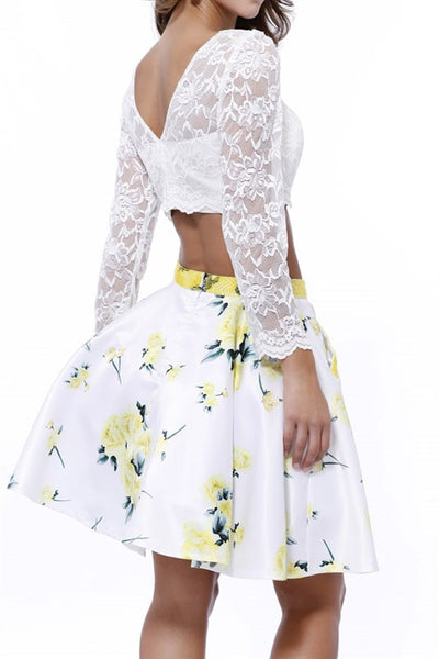 White/Yellow Long Sleeved Lace Two Piece Dress