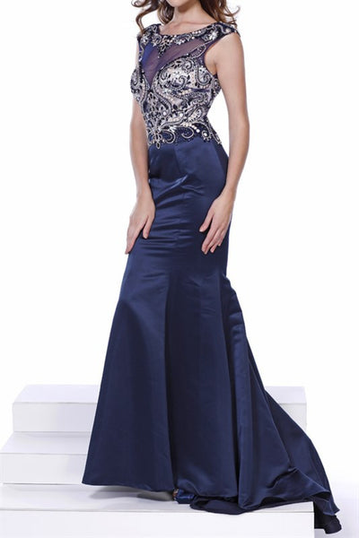 Navy Sexy Embellished Satin Mermaid Long Prom Gown