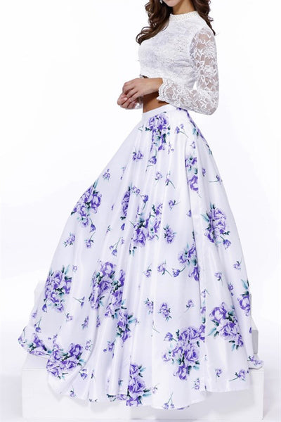 White/Purple Floral Print Long Sleeve Lace Two Piece Dress