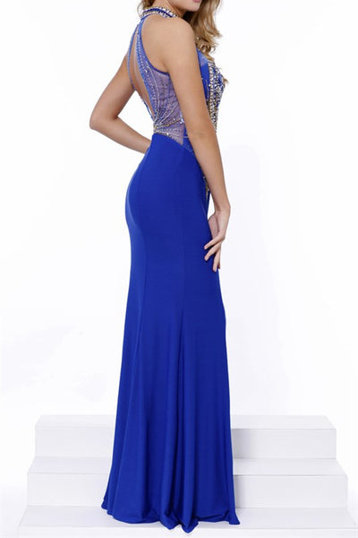Royal Blue High Neck Illusion  Jersey Long Prom Gown