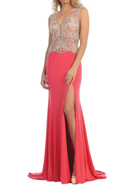 Nude Overlay Sexy V-Neck Long Prom Dress