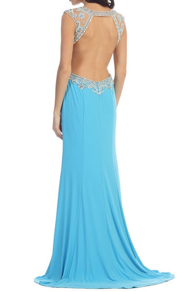 Jeweled Bodice Sexy High Neck Cutout Long Slitted Prom Dress Black and Turquoise  Blue