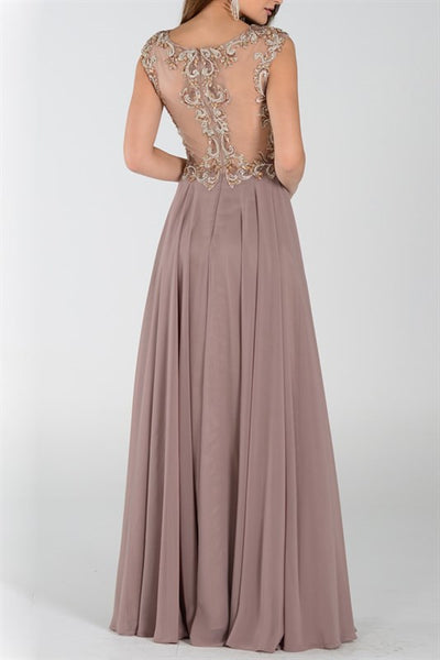 Long Chiffon Empire Waist Mesh Embroiderd Bodice