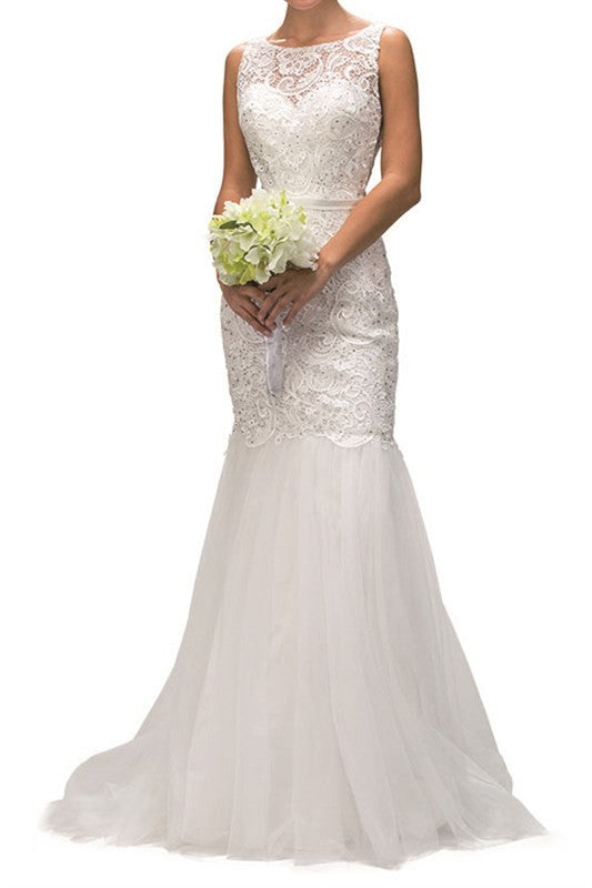JEWELED LACED TRUMPET WEDDING GOWN