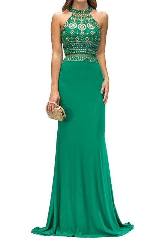 ONE PIECE ILLUSION LONG FORMAL PROM DRESS