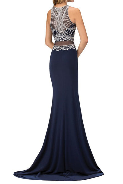 ONE PIECE MESH MIDRIF JERSEY GOWN