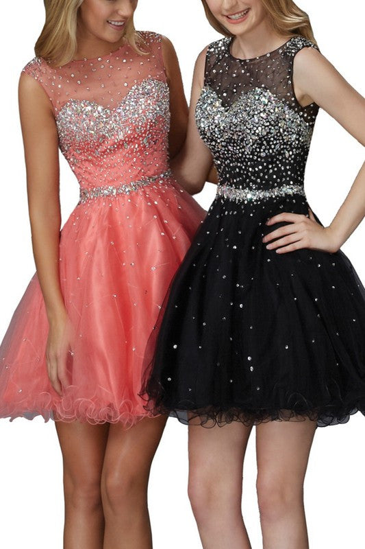 Mesh Top Tulle Jeweled Short Dress