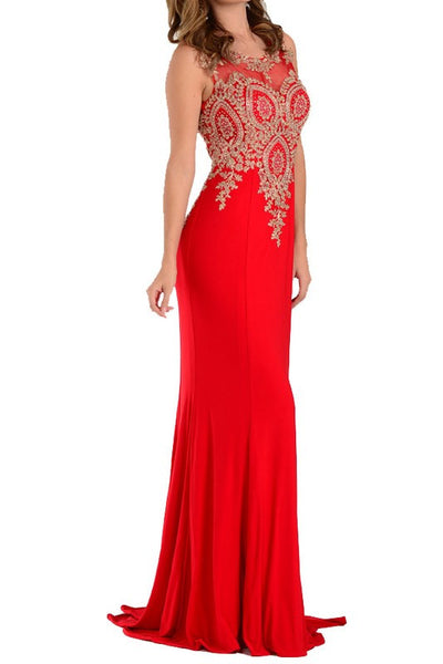 Metallic Lace Applique Long Gown Lace back