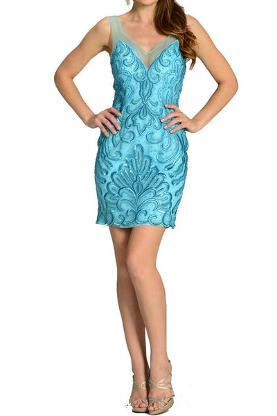 RHINESTONE STUDDED LACE EMBROIDERED BODY CON HOMECOMING PROM DRESS