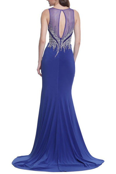 Royal Blue Jeweled Slitted Prom Gown