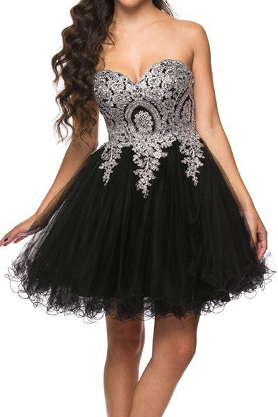 Strapless Unique Design Corset Short Formal Dress
