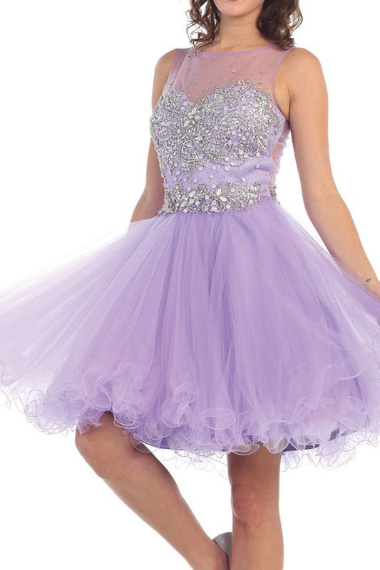 PURPLE LILAC HOMECOMING PROM DRESS MESH, SATIN, TULLE PURPLE