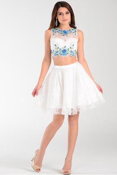 LACE ON LACE TWO PIECE SHORT HOMECOMING PROM DRESS