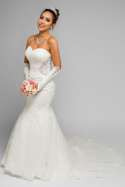 OFF WHITE STRAPLESS LONG WEDDING DRESS