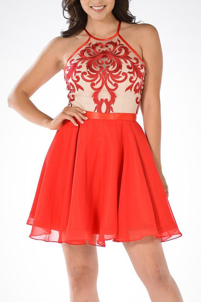 SHORT AND SWEET CHIFFON SKIRT AND SATIN EMBROIDERD HALTER NECK TOP