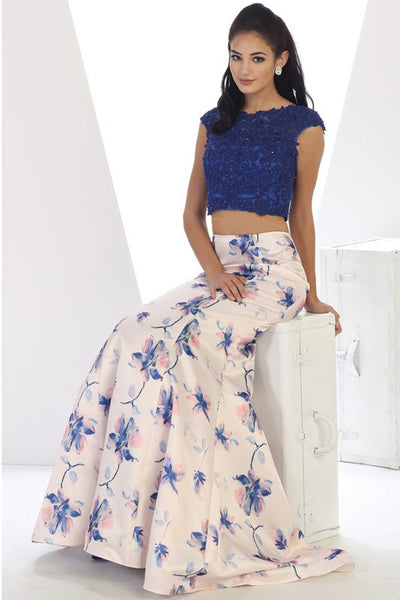 ROYAL BLUE MULTI FLOWER PATTERN 2 PIECE CROPPED LACE TOP AND MERMAID BOTTOM