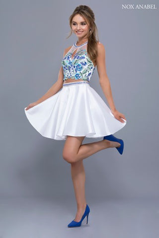 TWO PIECE SHORT WHITE AND FLORAL HALTER TOP NOX ANABEL 6330