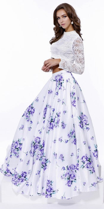 Long Sleeves lace 2 piece Purple and white floral pattern Homecoming Prom dress