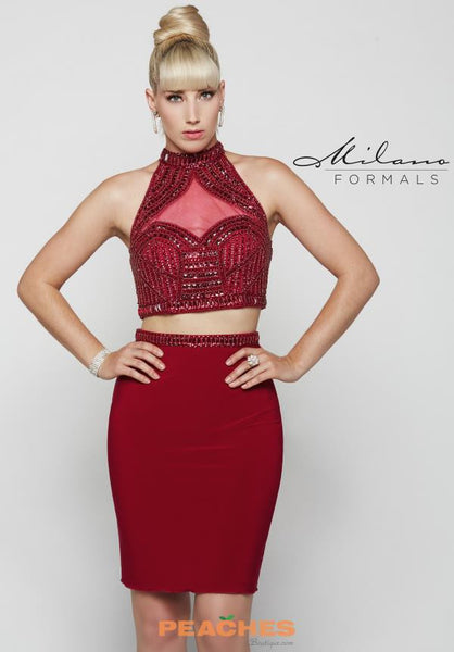Milano E2034 BERRY RED TWO PIECE PENCIL SKIRT HOMECOMING DRESS SIZE 10
