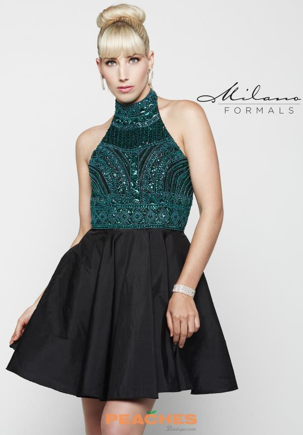 MILANO E2037 TEAL AND BLACK COMBO ONE PIECE POCKET HOMECOMING DRESS