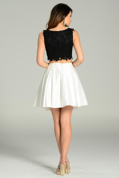 SHORT, simple, AND SWEET lace and satin 2 piece dress