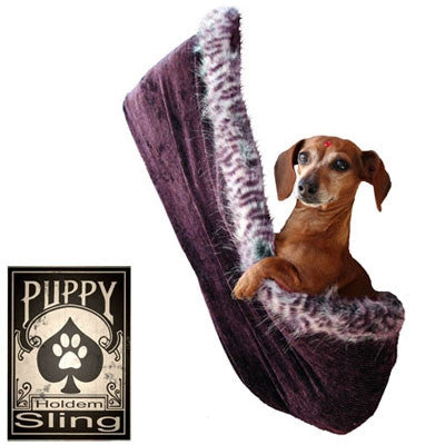 "Pet Flys ""Eggplant Velour - Puppy ""Hold 'em"" Sling"" Dog Carrier"