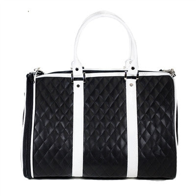 Petote Black & White Quilted Luxe JL Duffel - Airline Approved