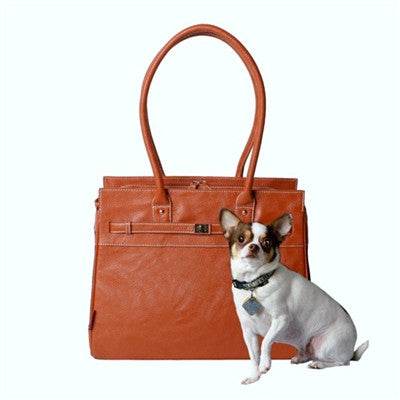 Bark n Bag Pebble Grain Monaco Tote Dog Carrier - Cognac