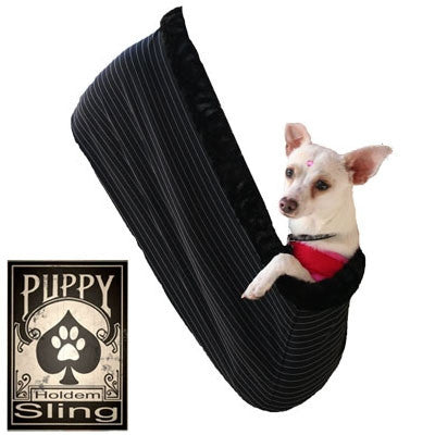 "Pet Flys ""Black Pinstripe - Puppy ""Hold 'em"" Sling"" Dog Carrier"