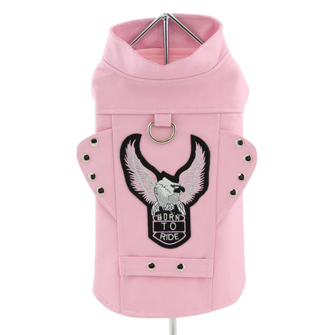 "Doggie Design ""Born to Ride"" Motorcycle Jacket -Pink"