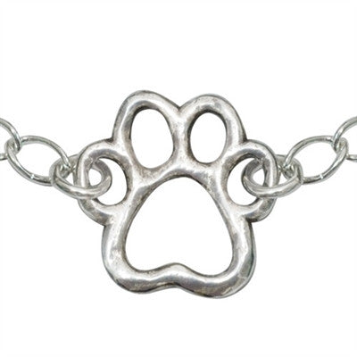 "Rockin' Doggie Cut-Out Paw Sterling Silver Bracelet on 7.25"" Adjustable Curb Chain"