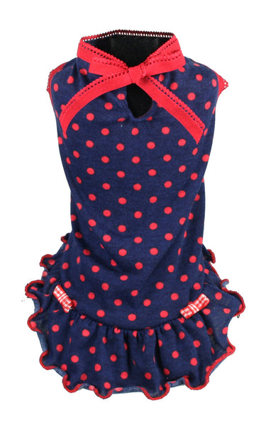 "Hip Doggie  ""Little Betty Polka Dot Dress"" - NAVY"