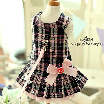 "JunyBell ""Cindy"" Dog Harness Dress with Leash"