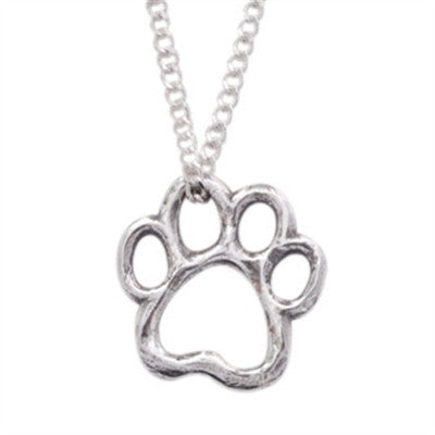 "Rockin' Doggie Cut-Out Paw Sterling Silver Pendant on 18"" Curb Chain"
