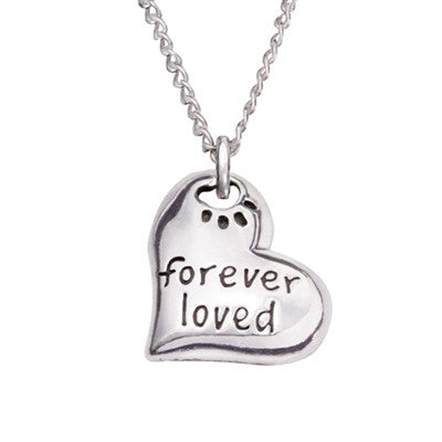 "Rockin Doggie Forever Loved Heart Sterling Silver Pendant on 18"" Curb Chain"