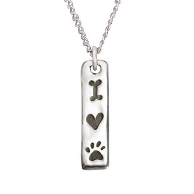 "Rockin' Doggie I Love My Dog Tablet Sterling Silver Pendant on 18"" Curb Chain"