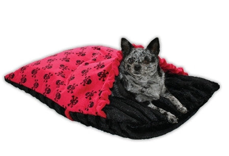 "Pet Flys ""Red Skully Pet Pocket"" Dog Bed"