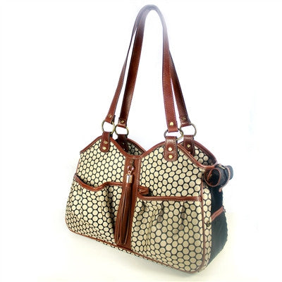 "Petote ""METRO"" Couture Toffee Leather Trim Dog Carrier"