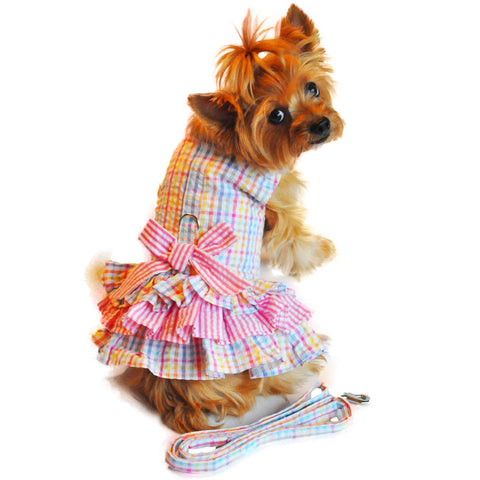 "Doggie Design ""Ruffled Seersucker"" Designer Dog Harness Dress"