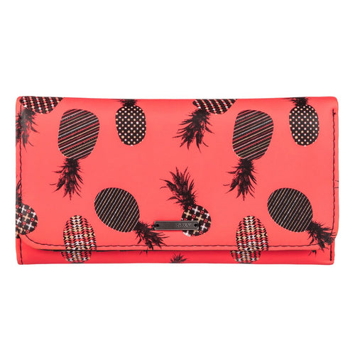 Roxy My Long Eyes Purse Wallet Neon Grapefruit Pineapple ERJAA03238