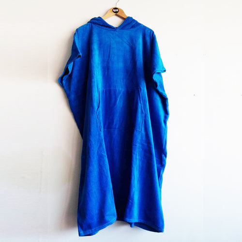Unbranded Thick High Quality Hooded Towel Robe 360gsm Blue Adult