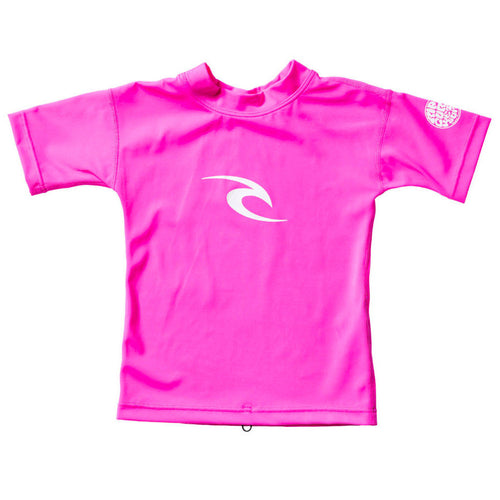 2017 Rip Curl Junior Grom Corpo Short Sleeve Rash Vest Hot Pink