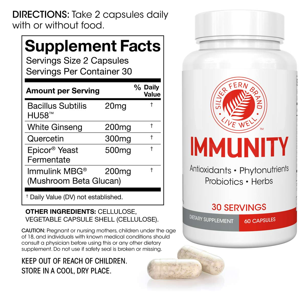 Immunity - Immune System Support and Antioxidants Supplement Facts