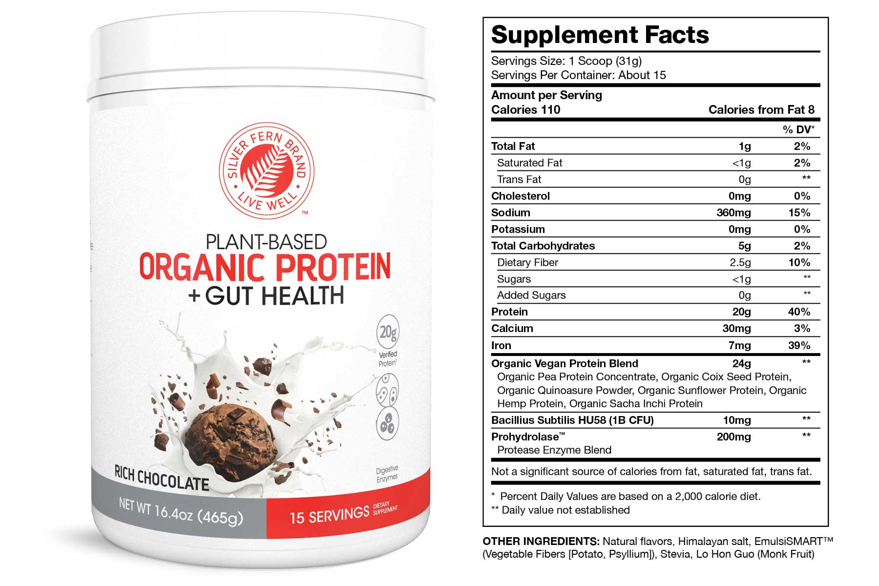 Organic Protein Powder Chocolate Supplement Facts
