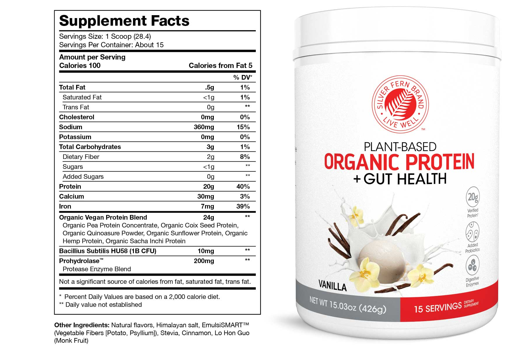 Organic Protein Powder Vanilla Supplement Facts