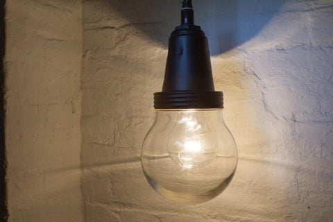 Vintage Industrial Glass Pendant Lamp