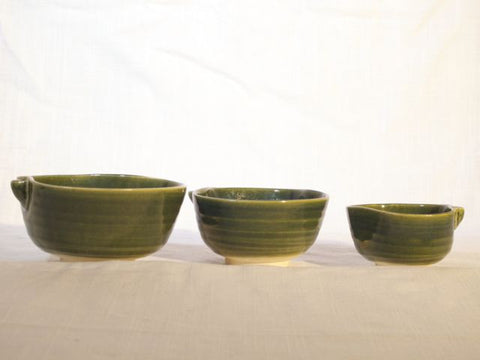 Green Stacking Bowls, Set of 3