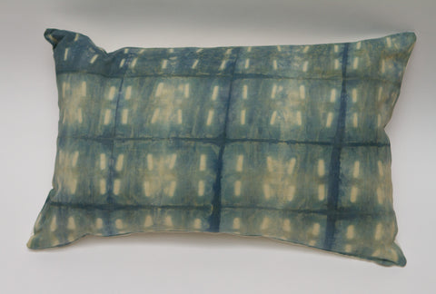 Medium Blue Dashes Shibori Pillow