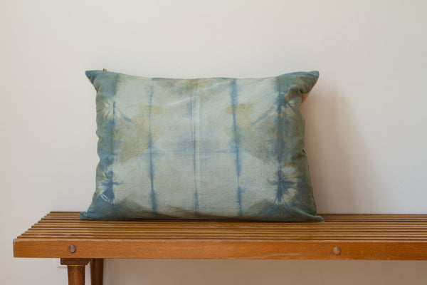 Blue Green Shibori Pillow